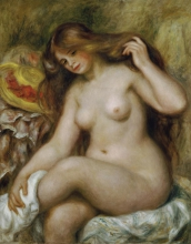 Renoir, Bagnante dai capelli biondi sciolti | Badende mit blondem, offenem Haar | Baigneuse aux cheveux blonds dénoués | Bather by loose blond hair