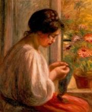 Renoir, Donna che cuce davanti alla finestra.jpg