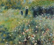 Renoir, Donna con l'ombrello in un giardino | Femme à l'ombrelle dans un jardin | Woman with umbrella in a garden | Mujer con sombrilla en un jardín