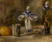 Pierre-Auguste Renoir, Natura morta con una figurina di ceramica di Faenza | Still life with a faience figure