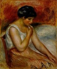 Renoir, Ragazza seduta con gonna a righe. Gabrielle | Seated girl with striped skirt. Gabrie | Siddende pige med stribet skørt. Gabrielle