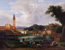 Pietro Ronzoni, Veduta di Verona con Sant'Anastasia verso Castel San Pietro