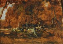 Rousseau Théodore, Mandria nella foresta   Troupeau en forêt   La tropilla