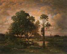 Rousseau Théodore, Tramonto estivo | Coucher du soleil d'été | Summer sunset