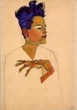 Egon Schiele, Autoritratto con le mani posate sul petto | Selbstportrait mit an die Brust gelegten Hände
