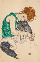 Egon Schiele, Donna seduta con le ginocchia piegate | Seated woman with bent knees