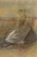 Giovanni Segantini, Contadina seduta nel campo | Sitzende Bäuerin im Feld
