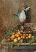 Giovanni Segantini, Natura morta con frutta e uccello | Stillleben mit Früchten und Vogel