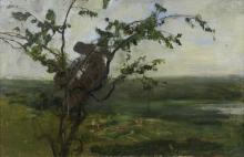 Giovanni Segantini, Paesaggio con donna su un albero