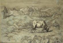 Giovanni Segantini, Pascoli alpini (Paesaggio con una vacca)