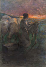 Giovanni Segantini, Tramonto. Pastorella alla fontana   Hirtenmädchen mit Schafen am Brunnen