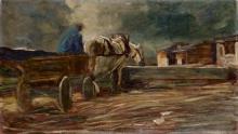 Giovanni Segantini, Uomo su un carretto mentre fa abbeverare il cavallo