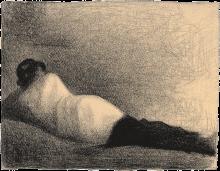 """Seurat, L'uomo sdraiato (Studio per «Un bagno, Asnières»)   L'homme couché (Étude pour """"Une baignade, Asnières"""")"""