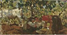 Raffaello Sorbi, Paesaggio con contadini