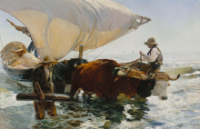 Joaquín Sorolla, Il ritorno dalla pesca: alaggio della barca | Retour de la pêche : halage de la barque | Return from fishing: towing the boat