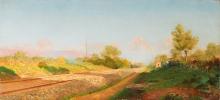 Tommasi Adolfo (attribuito a), Paesaggio di campagna con ferrovia e treno in lontananza.jpg