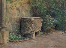 Tommasi Adolfo, Antica vasca in un giardino.jpg