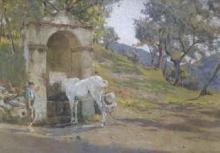 Tommasi Adolfo, Cavallo e contadino alla fonte.jpg
