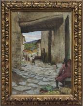 Tommasi Adolfo, Vicolo in Toscana con figure.jpg