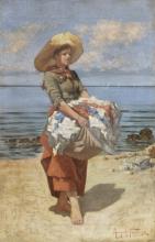 Angiolo Tommasi, Lavandaia in riva al mare