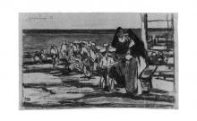 Tommasi Ludovico, Bambini sulla spiaggia con due suore.png