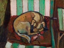 Suzanne Valadon, Cane addormentato su un cuscino | Chien endormi sur un coussin