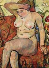 Suzanne Valadon, Nudo seduto con tappeto scialle | Nu assis au châle tapis