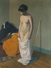 Vallotton, Donna nuda che regge la sua camicia con entrambe le mani.jpg