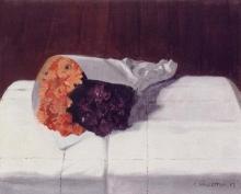 Vallotton, Natura morta con bouquet di calendule e violette | Nature morte avec bouquet de soucis et violettes |  Still life with bouquet of marigolds and violets