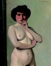 Vallotton, Torso di donna nuda su sfondo paravento azzurro.jpg