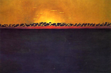 Vallotton, Tramonto, alta marea grigio-blu | Coucher de soleil, mer haute gris-bleu | Sunset, grey-blue high tide