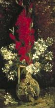 Van Gogh, Vaso con gladioli rossi e violacciocche bianche   Vaas met rode gladiolen en witte violieren   Vase avec glaïeuls rouges et blancs giroflées   Vase with red gladioli and white wallflowers