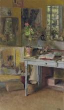 Vuillard, A Les Clayes, geranio su una tavola azzurra, davanti a una finestra | Aux Clayes, géranium sur une table bleue, devant une fenêtre