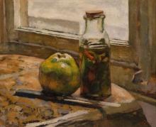 Vuillard, Bottiglia di cetrioli e mela | Bouteille de concombre et pomme | Bottle of cucumber and apple