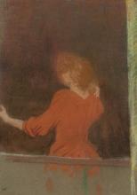 Vuillard, Donna in rosso, di spalle alla finestra   Femme en rouge, dos à la fenêtre   Woman in red, back to the window   Mujer de rojo, de espaldas a la ventana