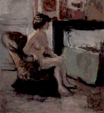 Vuillard, Nudo seduto di fronte a un caminetto | Nu assis devant une cheminée | Nude seated before a fireplace
