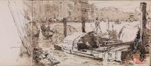 Félix Ziem, Venezia, gondole accostate sul Canal Grande