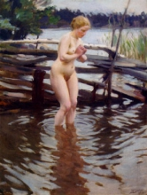 Zorn, Accanto al recinto della fattoria | Vid gårdesgården | By the fence. Nude female wading into water