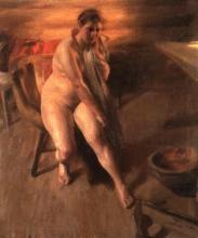 Zorn, Assonnata. Interno con ragazza nuda, Orjas Ida | Omorgnad. Interiör med naken kulla, Orjas Ida | Sleepy. Interior with nude girl, Orjas Ida