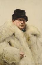 Zorn, Autoritratto in un cappotto di pelliccia di lupo   Självporträtt i vargskinnspäls   Self-portrait in a wolf fur coat