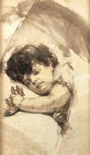 Zorn, Bambino che dorme con un cavalluccio di legno | Sovande gosse med leksakshäst | Sleeping boy with toy horse