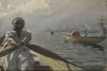 Zorn, Barciaiolo turco nel porto di Costantinopoli | Turkisk roddare i Konstantinopels hamn | Turkish boatman in the Constantinople harbour