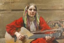 Zorn, Dalecarliana che suona a Utmeland | Spelande kulla vid Utmeland | Daleswoman playing at Utmeland