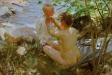 Zorn, Donna che sveste il suo bambino   Woman undressing her child