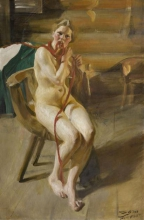 Zorn, Donna nuda che si pettina | Femme nue se coiffant | Nude woman combing her hair