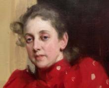 Zorn, Ritratto di Emma Zorn nello studio di Parigi [dettaglio]   Porträtt av Emma Zorn i Parisateljen [detalj]   Portrait of Emma Zorn in the Paris studio [detail]