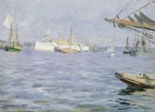 Zorn, La corazzata Baltimore nel porto di Stoccolma | The battleship Baltimore in the Stockholm harbour