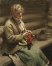 Zorn, Ragazza dalecarliana che lavora a maglia. Kål-Margit   Stickande kulla. Kål-Margit   Fille de Dalécarlie tricotant. Kål-Margit   Dalecarlian girl knitting. Kål-Margit
