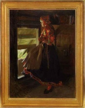 Zorn, Ragazza di Floda alla porta della soffitta | Flodakulla i loftdörren | Girl from Floda at the door of the loft