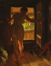 Zorn, Ragazza di Mora davanti a una porta aperta   Mora girl at an open door